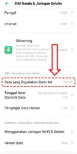 cek data bulanan di hp oppo