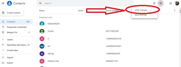buka menu pengaturan gear google contact