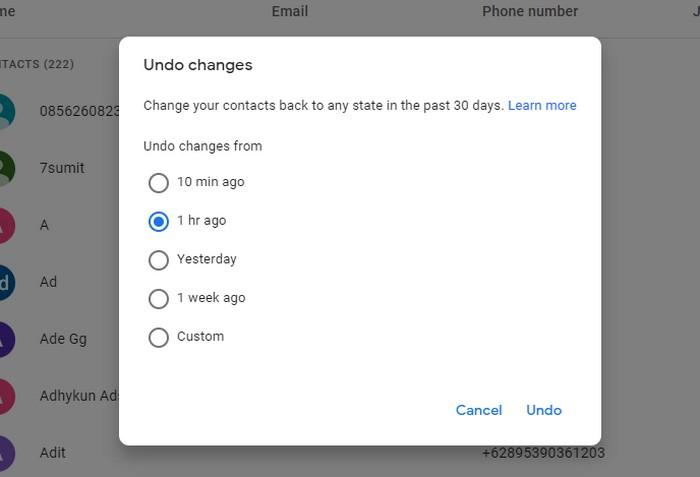 pilih ingin kapan terakhir kali update google contact