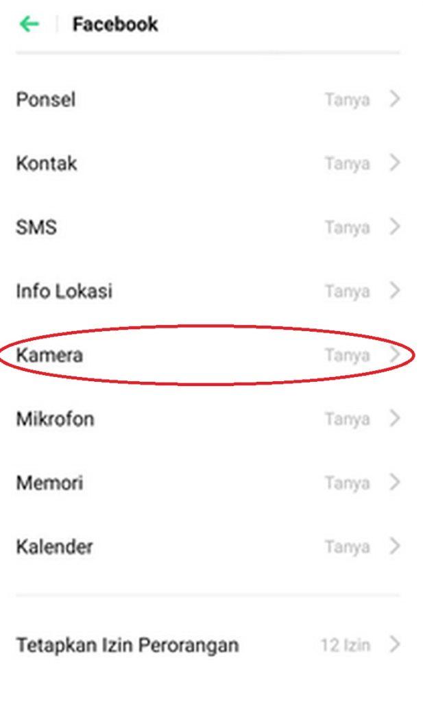 memberikan izin akses aplikasi kamera di oppo