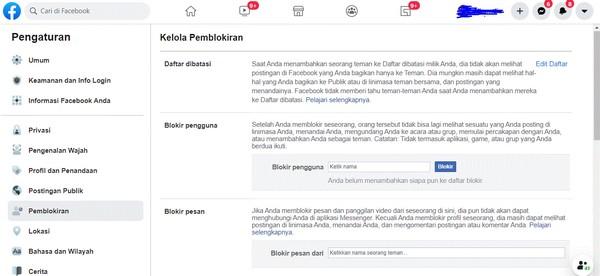 fitur facebook yang bisa diblokir